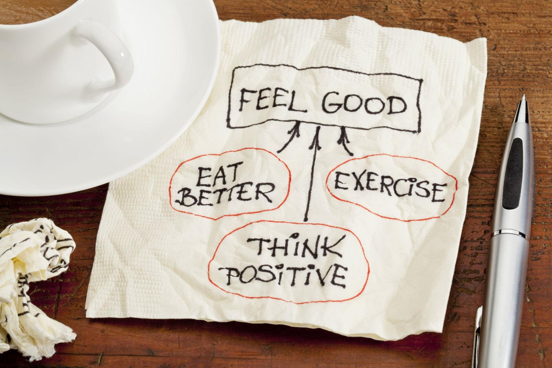 Feel Good Eat Better Exercise Think Positive - Image
