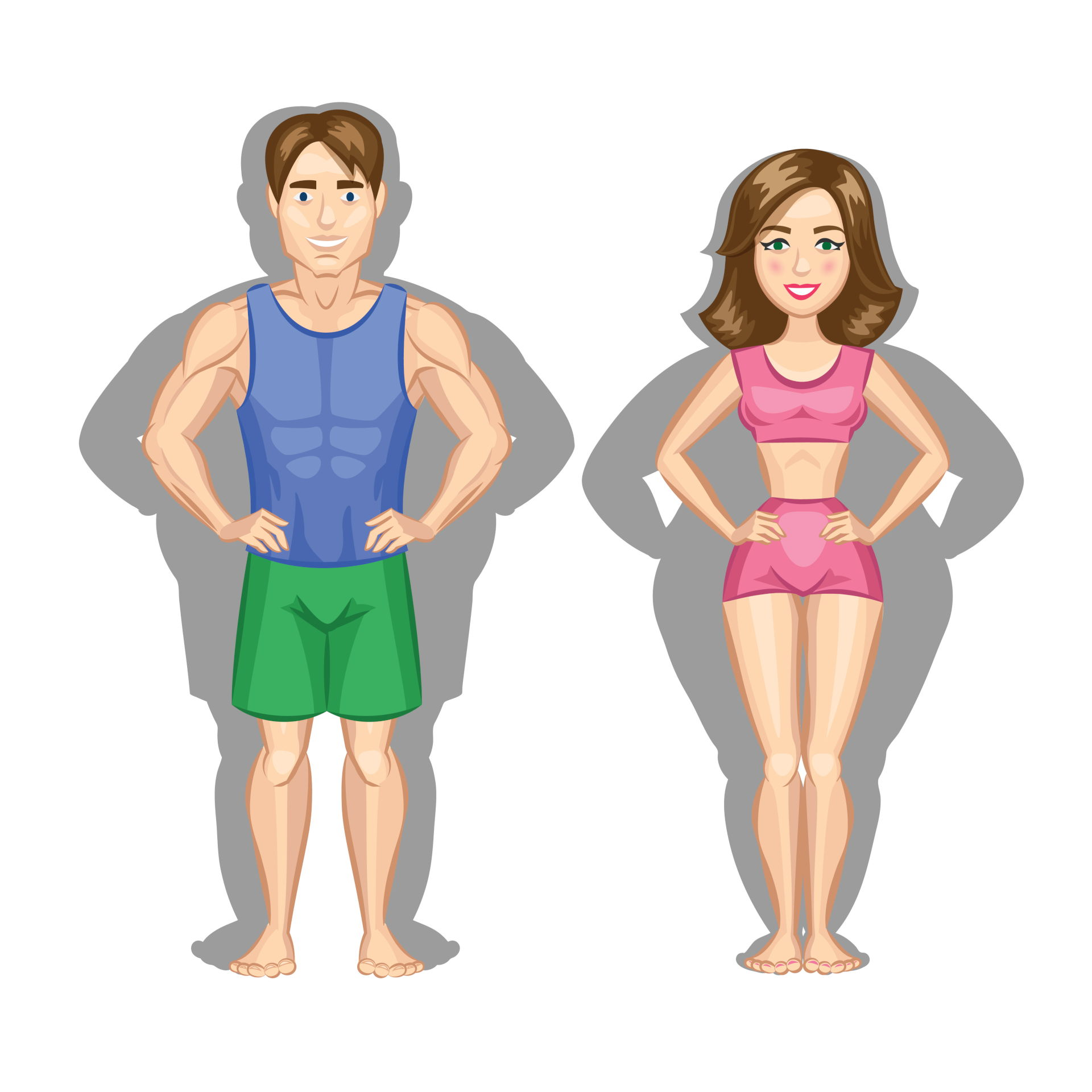 Fit Man And Woman With Shadow Of Fat Alternatives