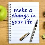 Notepad On A Wooden Table With The Text Make A Change In Your Life