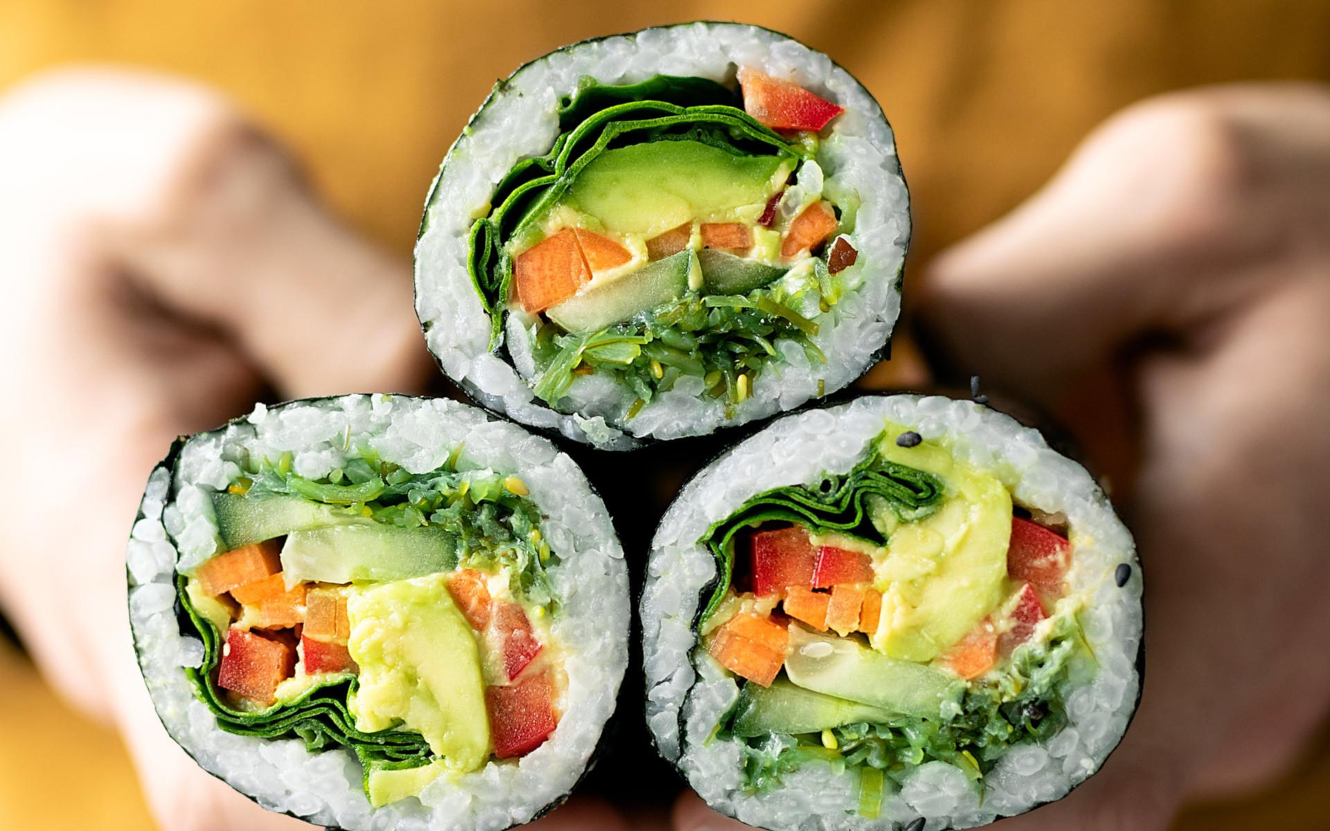 Close Up Of Vegan Sushi Burritoes