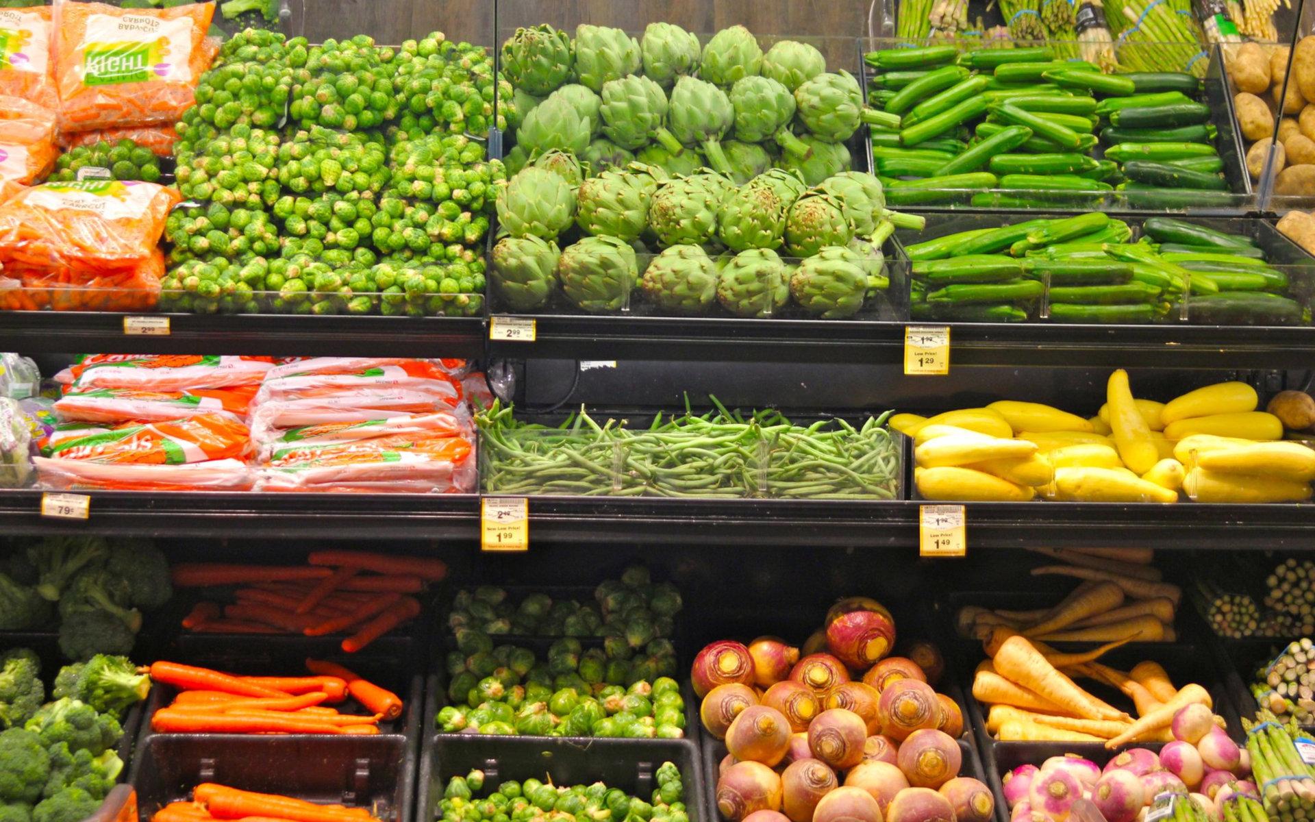 Vegetables On A Shop Shelf